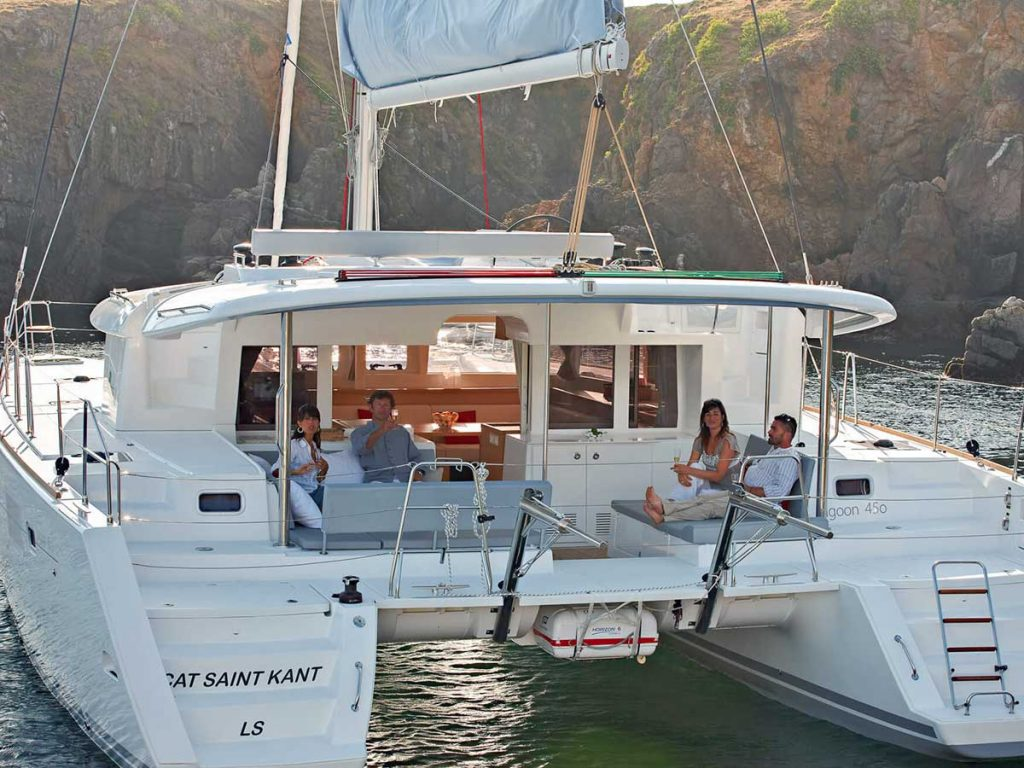 family on a luxurious yacht